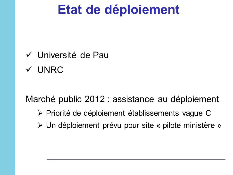 Université de Pau UNRC Marché public 2012 : assistance au déploiement Priorité de déploiement établissements vague C Un déploiement prévu pour site «