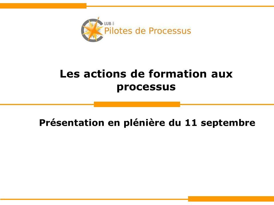 Les actions de formation aux processus Présentation en plénière du 11 septembre