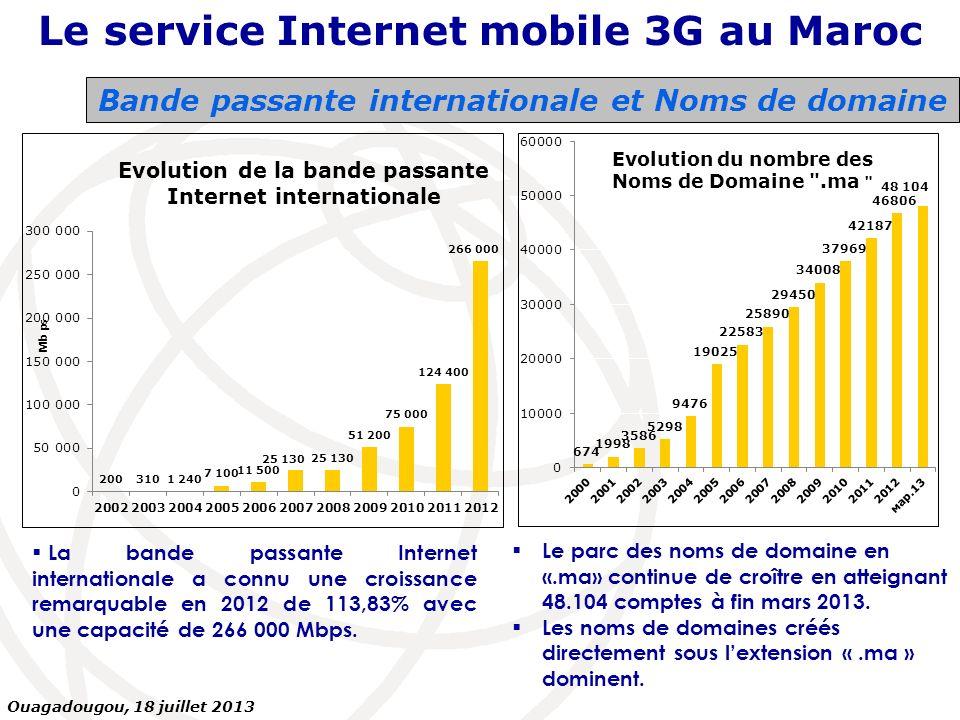 Bande passante internationale et Noms de domaine La bande passante Internet internationale a connu une croissance remarquable en 2012 de 113,83% avec
