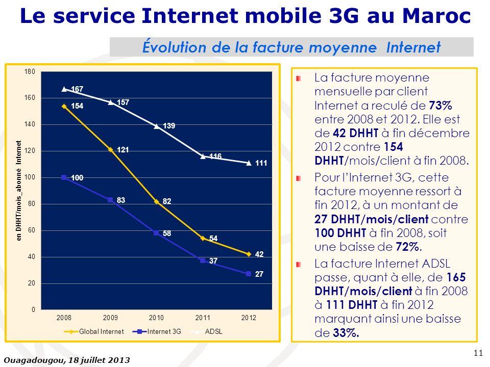 Évolution de la facture moyenne Internet La facture moyenne mensuelle par client Internet a reculé de 73% entre 2008 et 2012. Elle est de 42 DHHT à fi