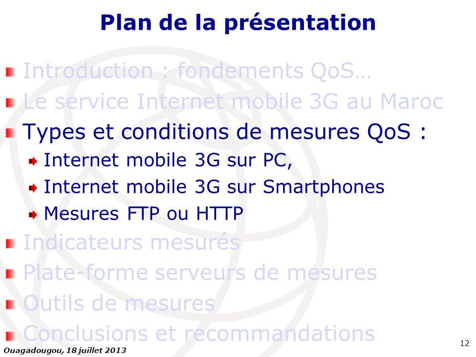 Plan de la présentation Introduction : fondements QoS… Le service Internet mobile 3G au Maroc Types et conditions de mesures QoS : Internet mobile 3G