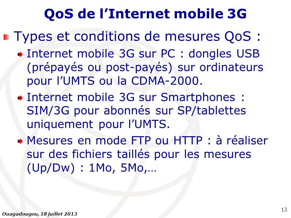 QoS de lInternet mobile 3G Types et conditions de mesures QoS : Internet mobile 3G sur PC : dongles USB (prépayés ou post-payés) sur ordinateurs pour