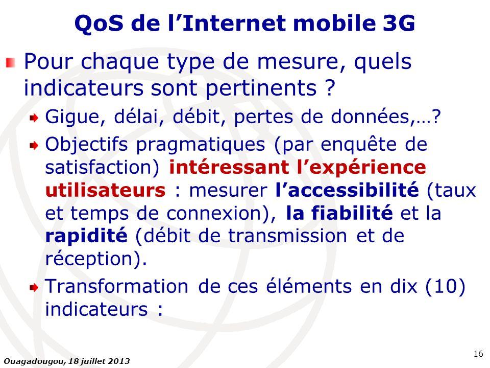 QoS de lInternet mobile 3G Pour chaque type de mesure, quels indicateurs sont pertinents ? Gigue, délai, débit, pertes de données,…? Objectifs pragmat