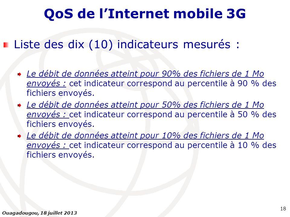 QoS de lInternet mobile 3G Liste des dix (10) indicateurs mesurés : Le débit de données atteint pour 90% des fichiers de 1 Mo envoyés : cet indicateur