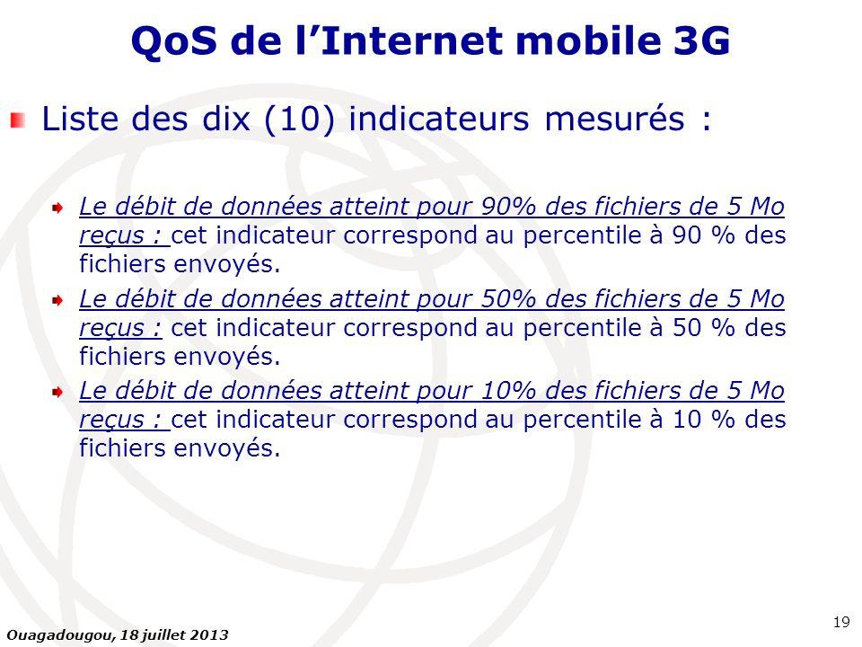 QoS de lInternet mobile 3G Liste des dix (10) indicateurs mesurés : Le débit de données atteint pour 90% des fichiers de 5 Mo reçus : cet indicateur c