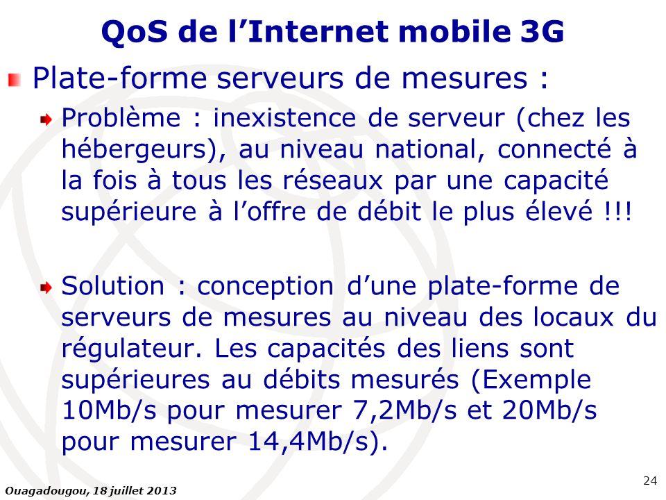 QoS de lInternet mobile 3G Plate-forme serveurs de mesures : Problème : inexistence de serveur (chez les hébergeurs), au niveau national, connecté à l