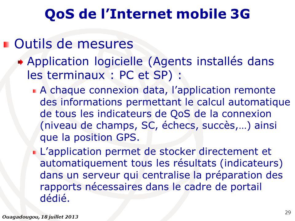 QoS de lInternet mobile 3G Outils de mesures Application logicielle (Agents installés dans les terminaux : PC et SP) : A chaque connexion data, lappli