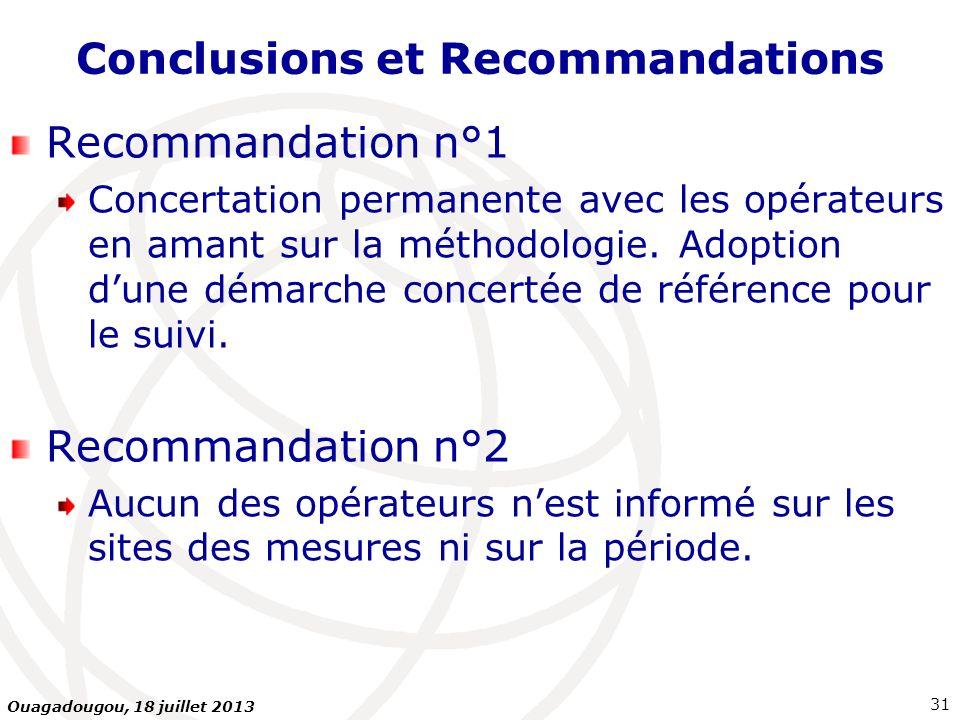 Conclusions et Recommandations Recommandation n°1 Concertation permanente avec les opérateurs en amant sur la méthodologie. Adoption dune démarche con