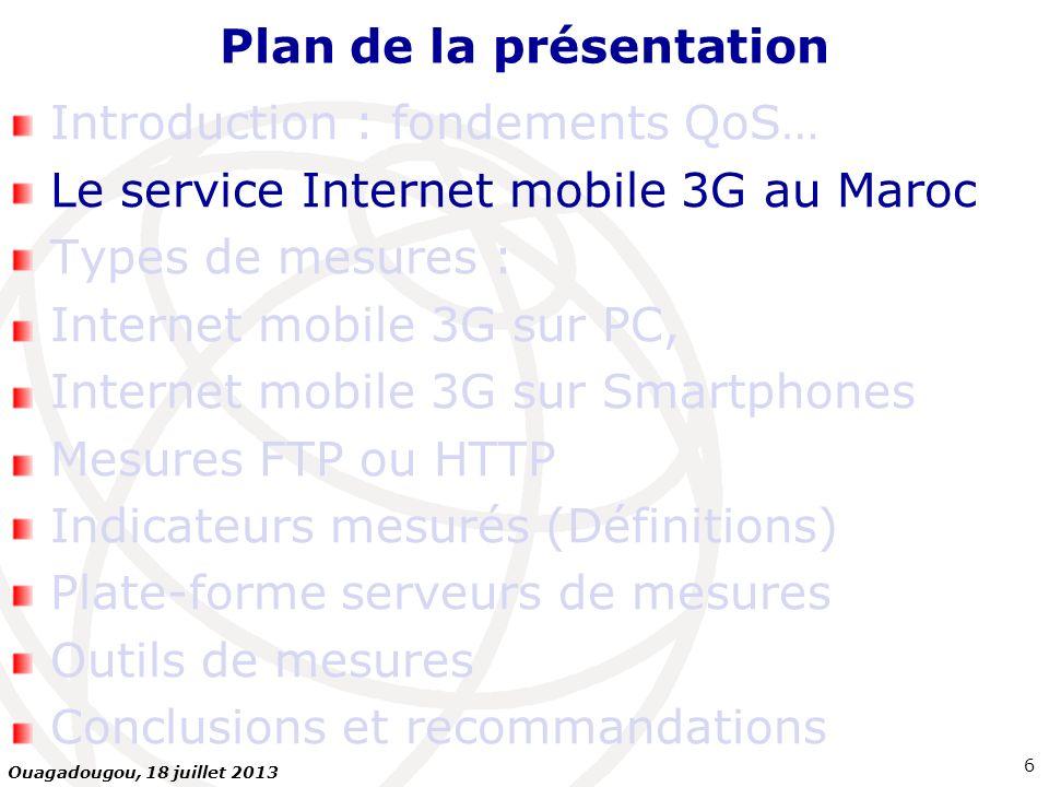 Plan de la présentation Introduction : fondements QoS… Le service Internet mobile 3G au Maroc Types de mesures : Internet mobile 3G sur PC, Internet m