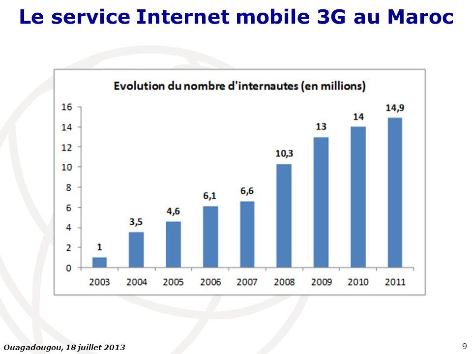 Plan de la présentation Introduction : fondements QoS… Le service Internet mobile 3G au Maroc Types de mesures : Internet mobile 3G sur PC, Internet mobile 3G sur Smartphones Mesures FTP ou HTTP Indicateurs mesurés Plate-forme serveurs de mesures Equipements terminaux Conclusions et recommandations 30 Ouagadougou, 18 juillet 2013