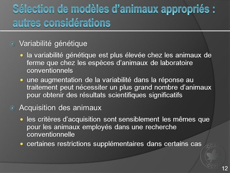 Variabilité génétique Variabilité génétique la variabilité génétique est plus élevée chez les animaux de ferme que chez les espèces danimaux de labora