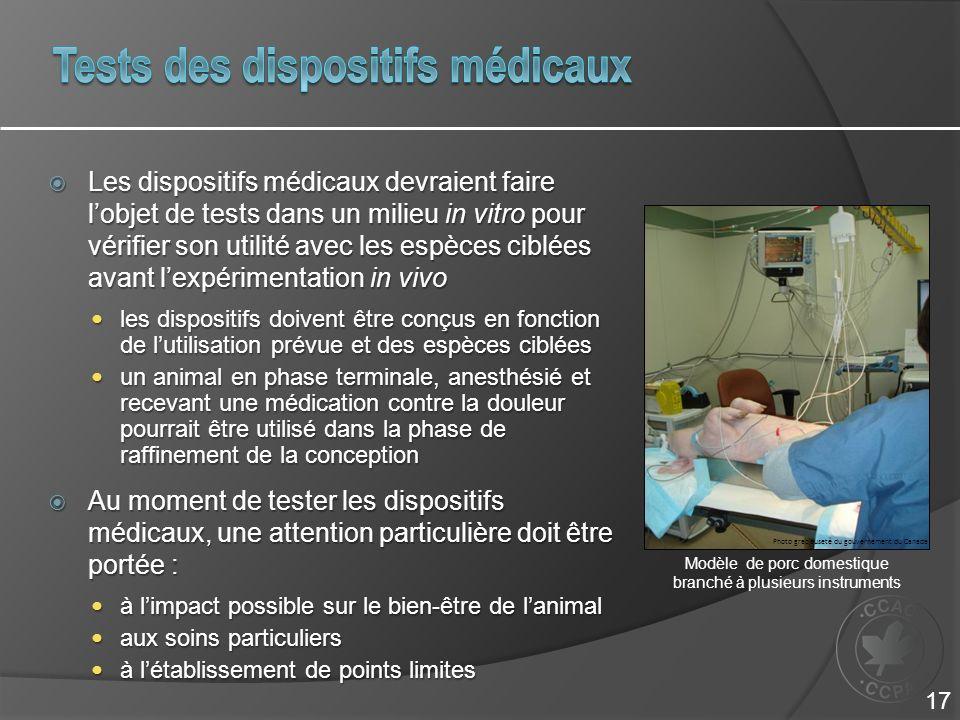 Les dispositifs médicaux devraient faire lobjet de tests dans un milieu in vitro pour vérifier son utilité avec les espèces ciblées avant lexpérimenta