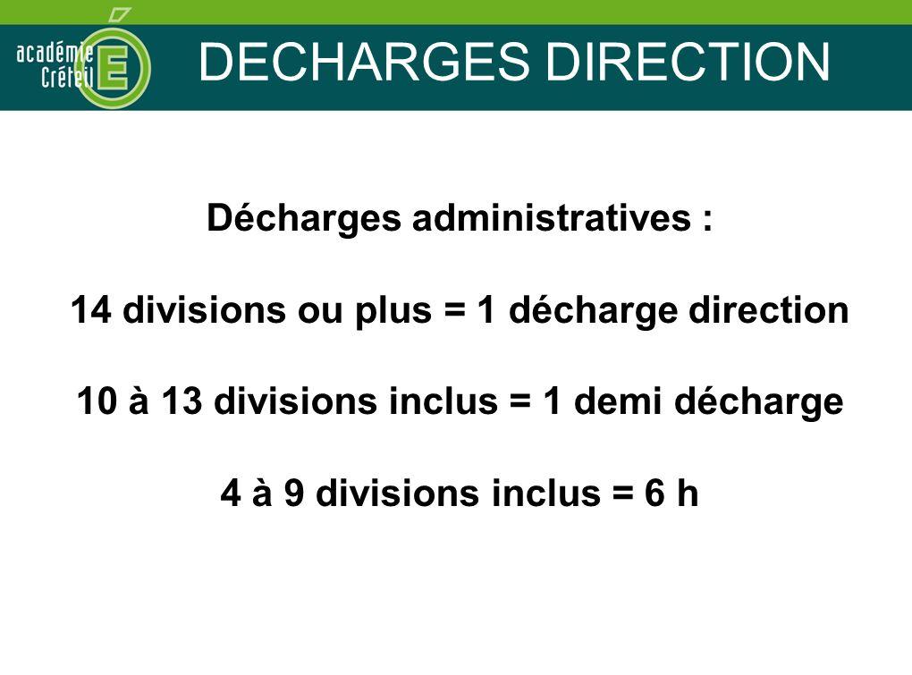 DECHARGES DIRECTION Décharges administratives : 14 divisions ou plus = 1 décharge direction 10 à 13 divisions inclus = 1 demi décharge 4 à 9 divisions