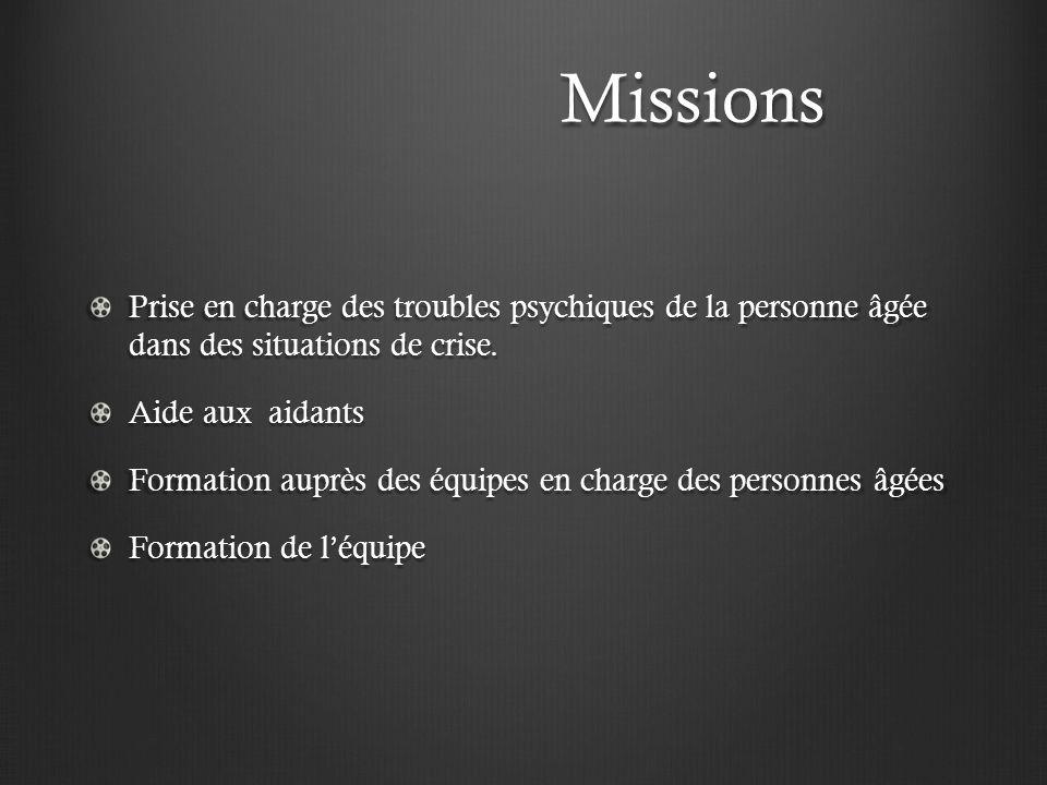 Missions Missions Prise en charge des troubles psychiques de la personne âgée dans des situations de crise. Aide aux aidants Formation auprès des équi