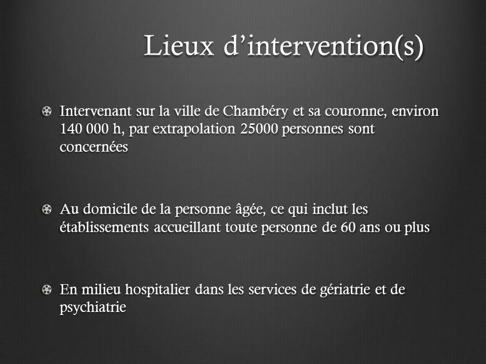 Lieux dintervention(s) Lieux dintervention(s) Intervenant sur la ville de Chambéry et sa couronne, environ 140 000 h, par extrapolation 25000 personne