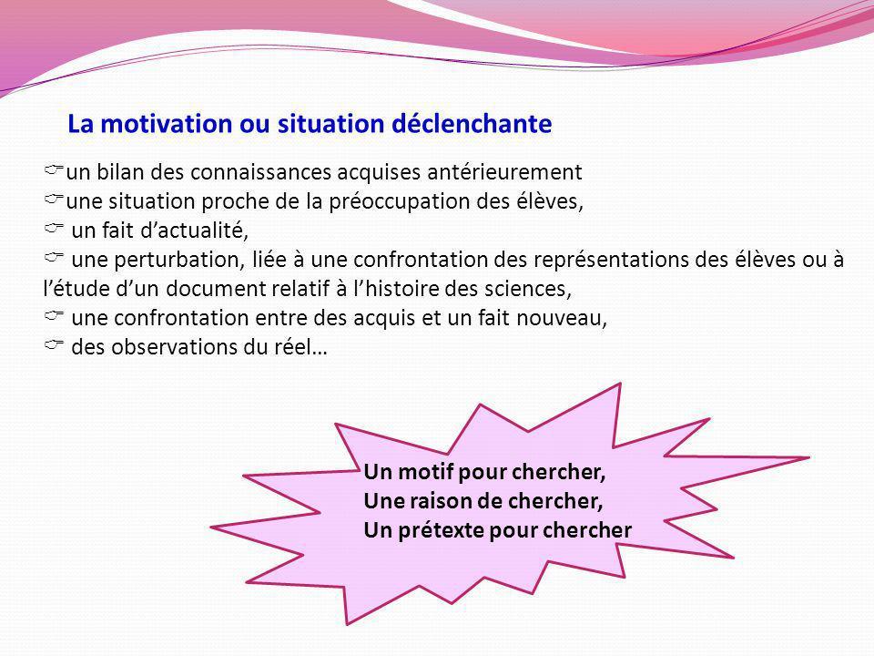 La motivation ou situation déclenchante un bilan des connaissances acquises antérieurement une situation proche de la préoccupation des élèves, un fai