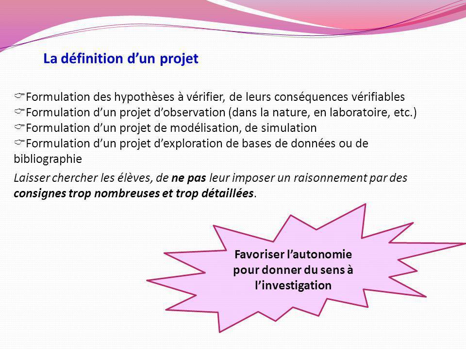 La définition dun projet Formulation des hypothèses à vérifier, de leurs conséquences vérifiables Formulation dun projet dobservation (dans la nature,
