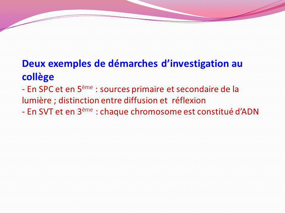 Deux exemples de démarches dinvestigation au collège - En SPC et en 5 ème : sources primaire et secondaire de la lumière ; distinction entre diffusion