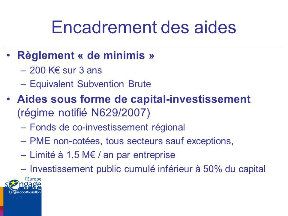 Encadrement des aides Règlement « de minimis » –200 K sur 3 ans –Equivalent Subvention Brute Aides sous forme de capital-investissement (régime notifié N629/2007) –Fonds de co-investissement régional –PME non-cotées, tous secteurs sauf exceptions, –Limité à 1,5 M / an par entreprise –Investissement public cumulé inférieur à 50% du capital