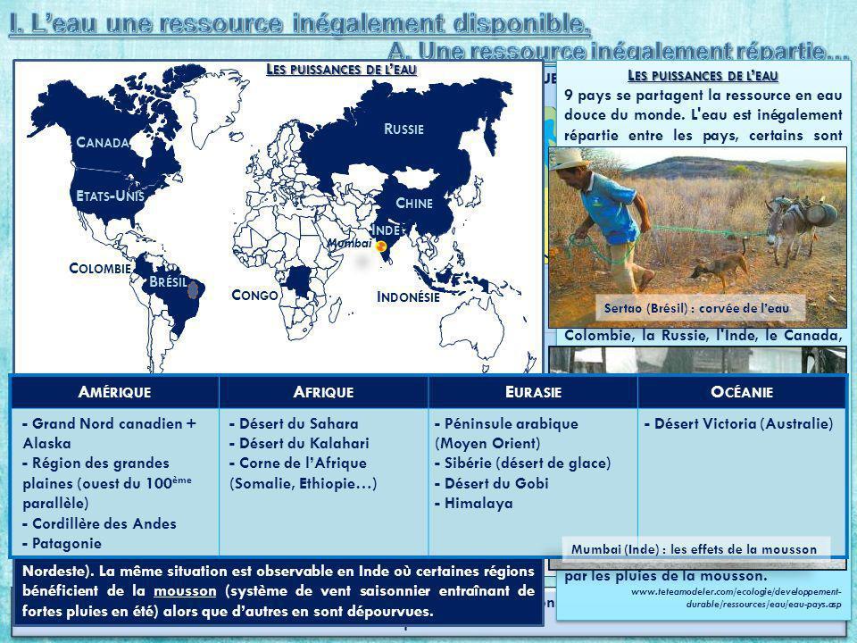 Dressez une liste par continent des régions qui enregistrent des précipitations inférieures ou égales à 500 mm deau par an.
