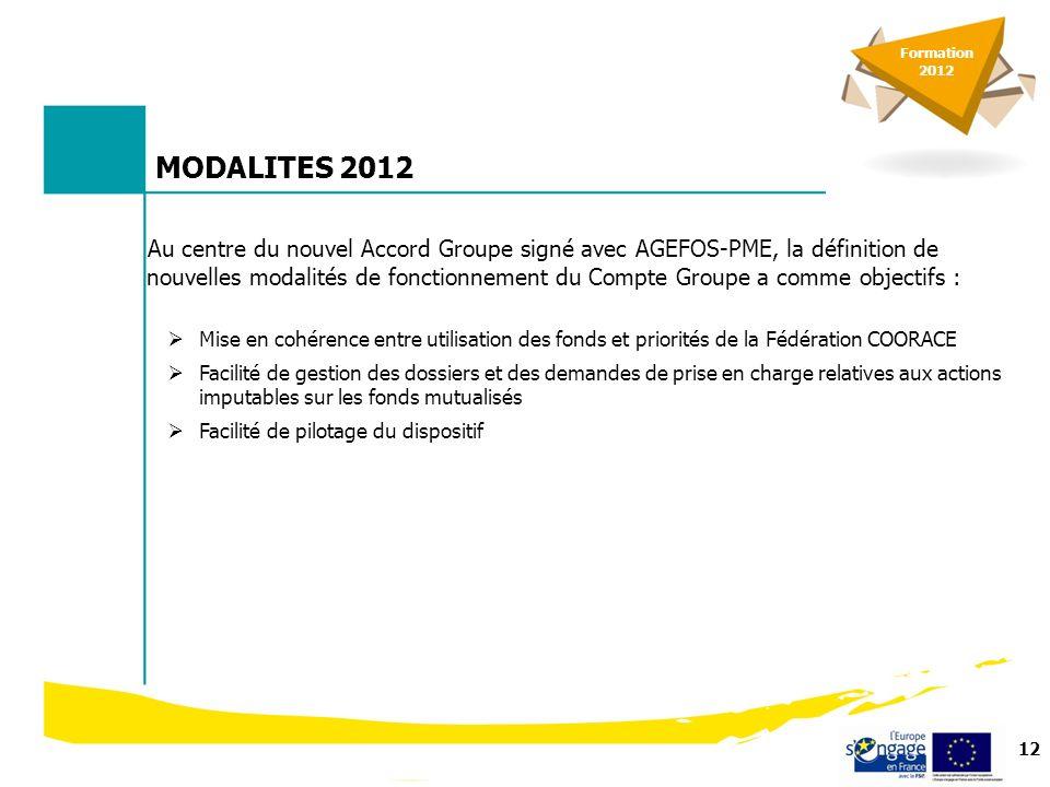 13 MODALITES 2012 Les nouveauté 2012 1.