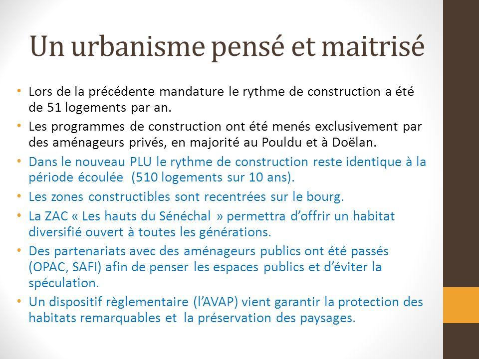 Un urbanisme pensé et maitrisé Lors de la précédente mandature le rythme de construction a été de 51 logements par an.