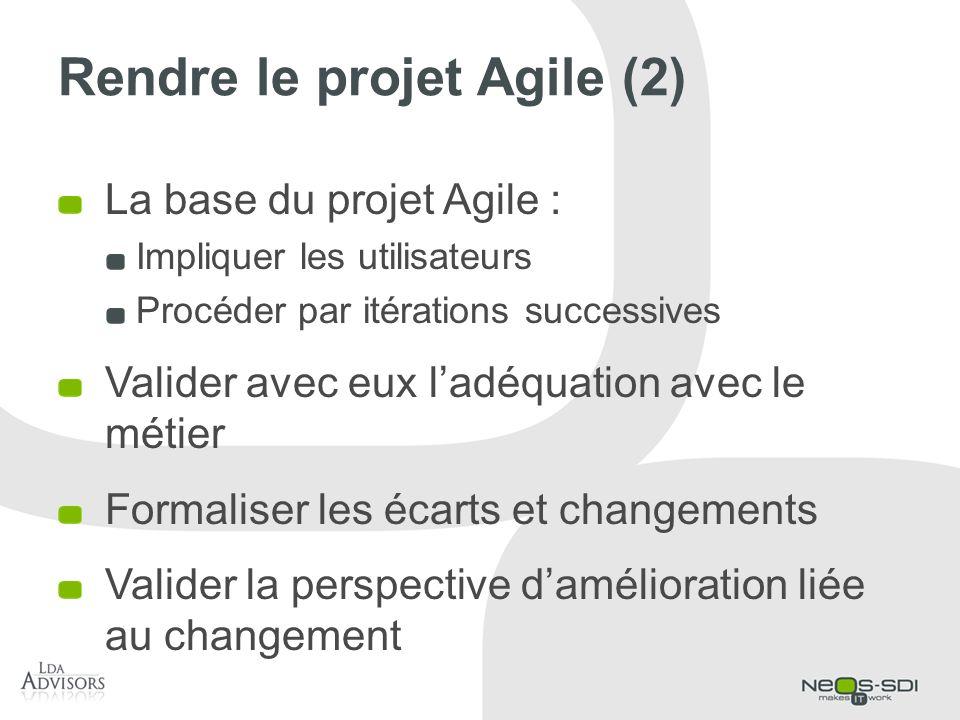 Rendre le projet Agile (2) La base du projet Agile : Impliquer les utilisateurs Procéder par itérations successives Valider avec eux ladéquation avec