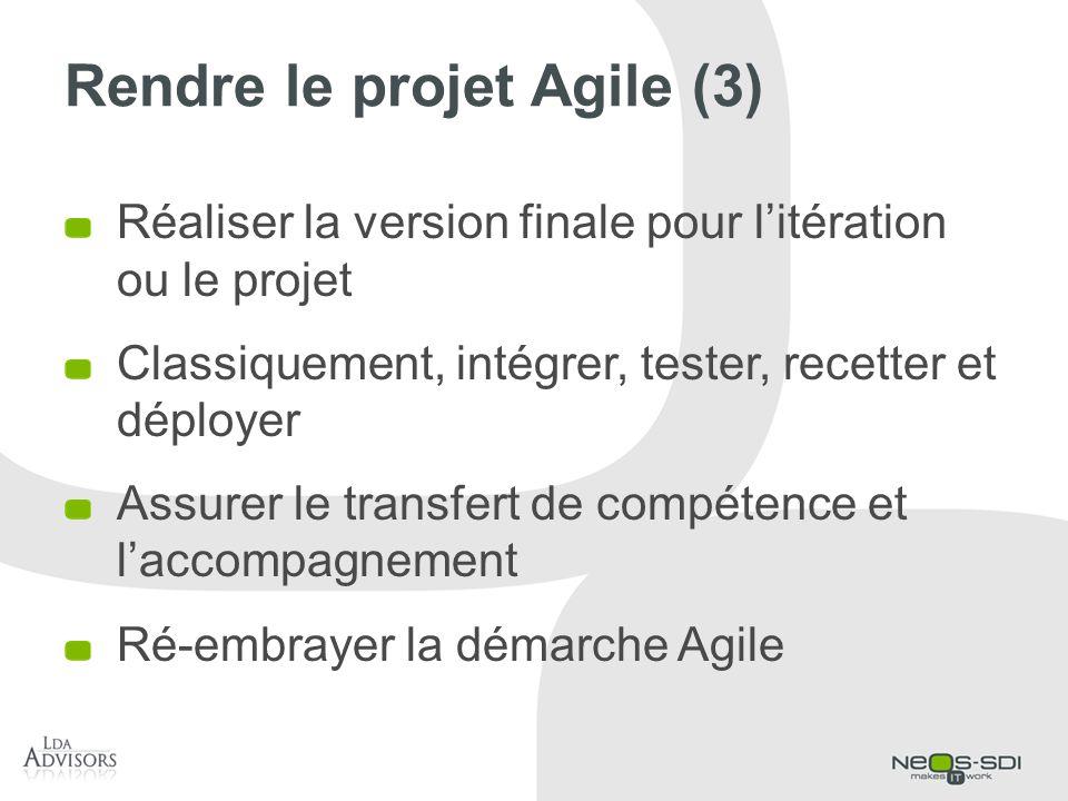 Rendre le projet Agile (3) Réaliser la version finale pour litération ou le projet Classiquement, intégrer, tester, recetter et déployer Assurer le tr