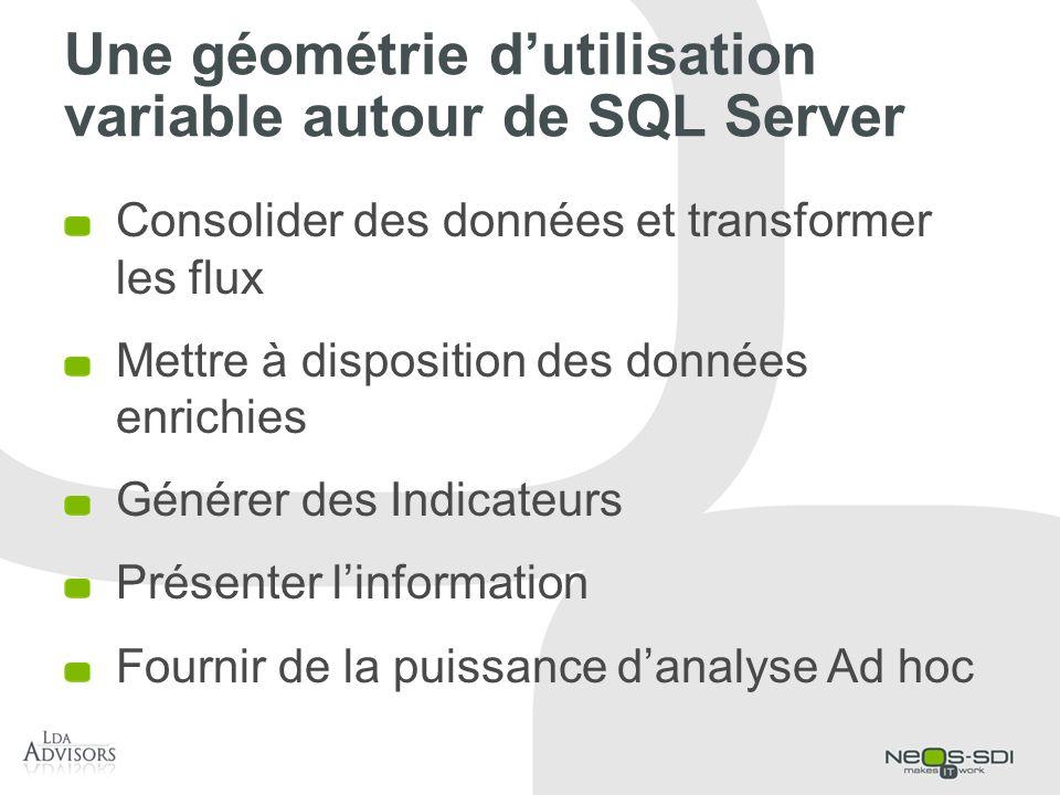 Une géométrie dutilisation variable autour de SQL Server Consolider des données et transformer les flux Mettre à disposition des données enrichies Gén