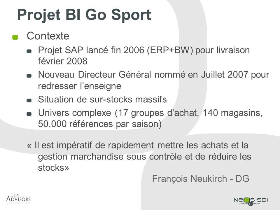 Projet BI Go Sport Contexte Projet SAP lancé fin 2006 (ERP+BW) pour livraison février 2008 Nouveau Directeur Général nommé en Juillet 2007 pour redres