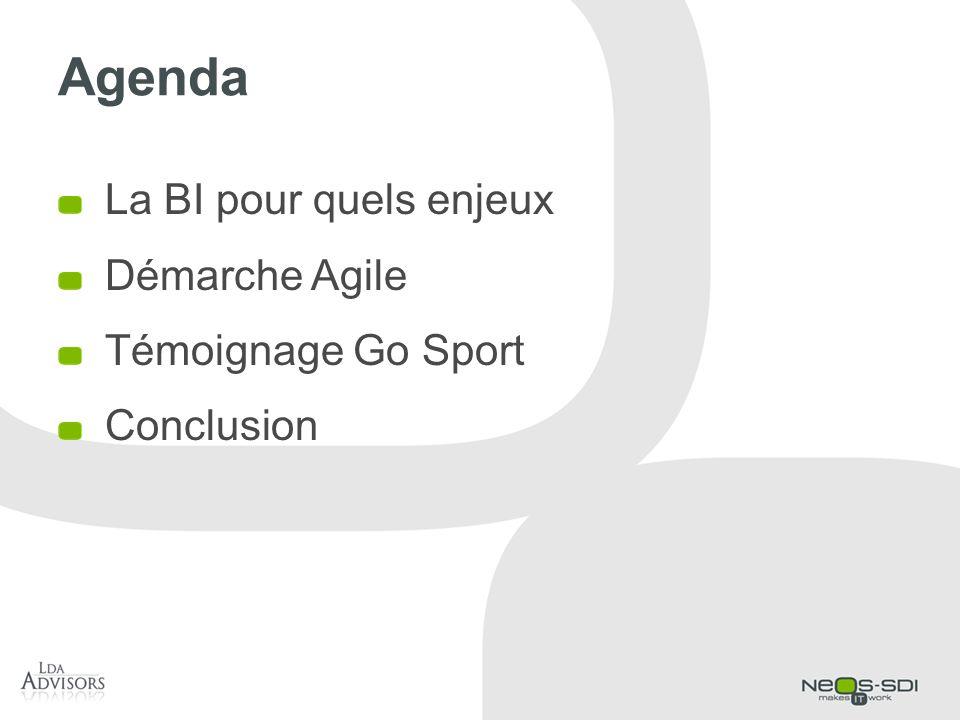 Agenda La BI pour quels enjeux Démarche Agile Témoignage Go Sport Conclusion