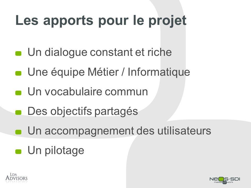 Les apports pour le projet Un dialogue constant et riche Une équipe Métier / Informatique Un vocabulaire commun Des objectifs partagés Un accompagneme