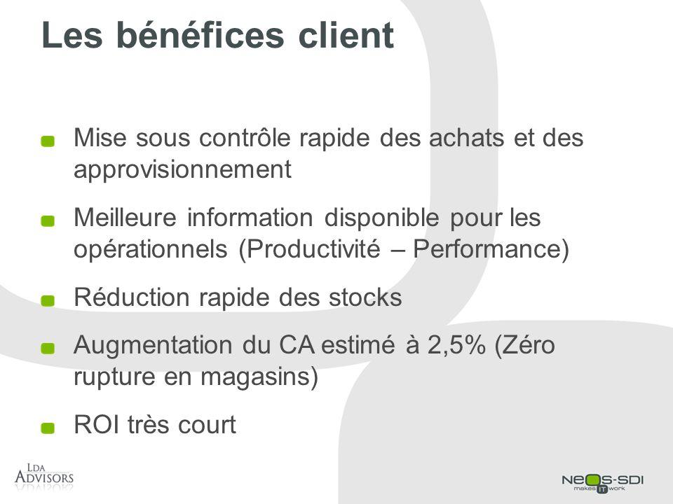 Les bénéfices client Mise sous contrôle rapide des achats et des approvisionnement Meilleure information disponible pour les opérationnels (Productivi