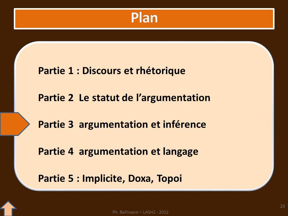 Partie 1 : Discours et rhétorique Partie 2 Le statut de largumentation Partie 3 argumentation et inférence Partie 4 argumentation et langage Partie 5