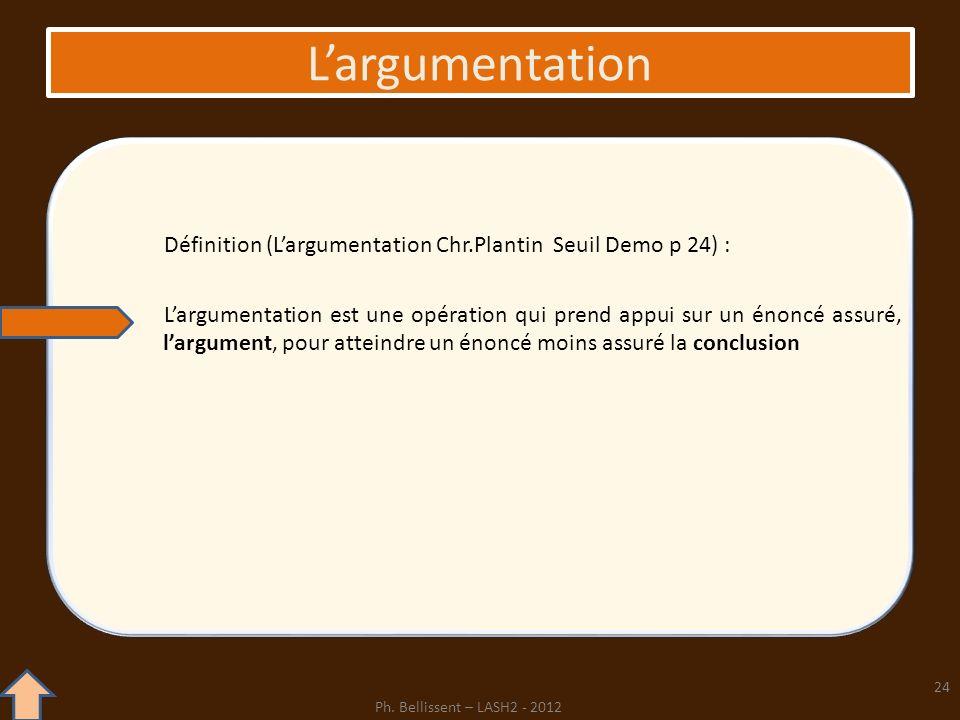 Largumentation Définition (Largumentation Chr.Plantin Seuil Demo p 24) : Largumentation est une opération qui prend appui sur un énoncé assuré, largum