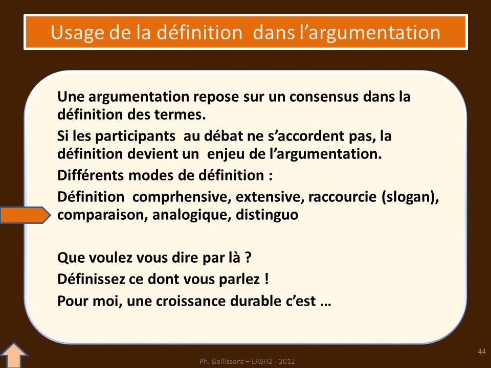 Usage de la définition dans largumentation Une argumentation repose sur un consensus dans la définition des termes. Si les participants au débat ne sa