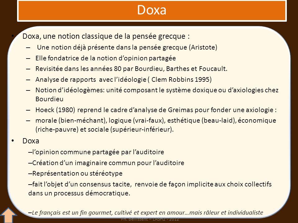 Doxa, une notion classique de la pensée grecque : – Une notion déjà présente dans la pensée grecque (Aristote) – Elle fondatrice de la notion dopinion