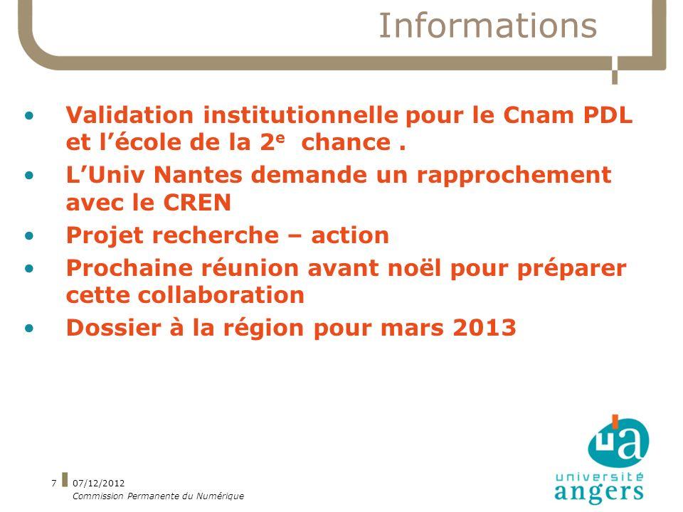 Informations Validation institutionnelle pour le Cnam PDL et lécole de la 2 e chance.