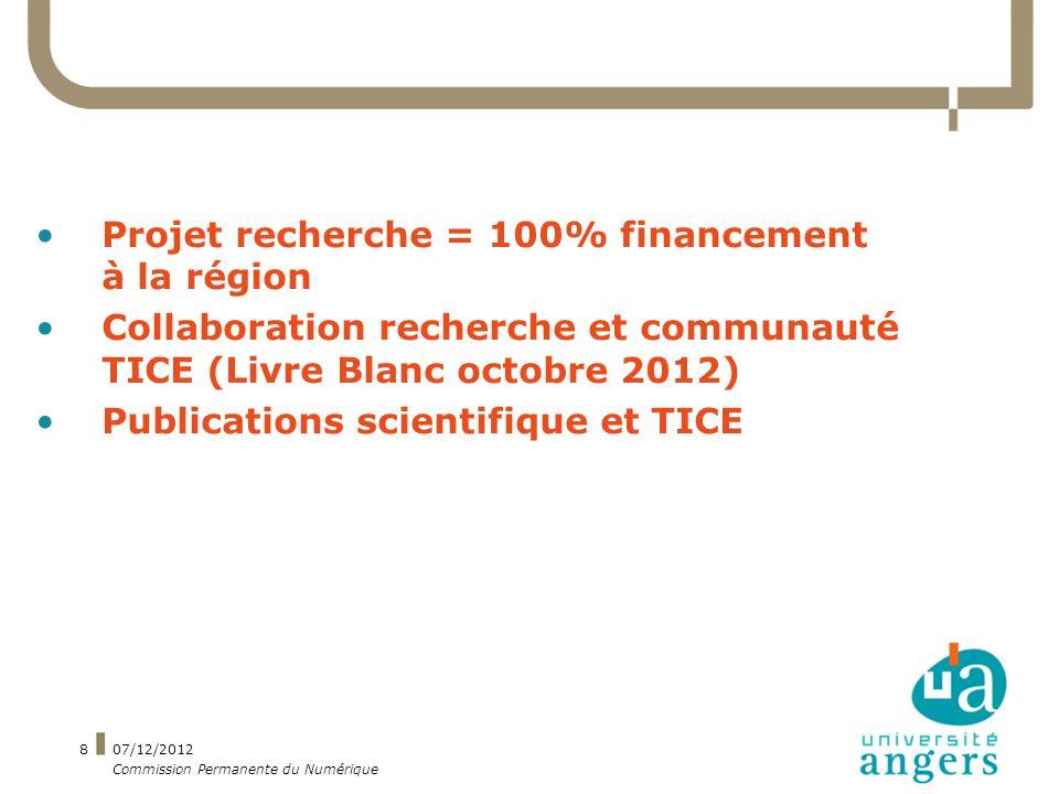 Projet recherche = 100% financement à la région Collaboration recherche et communauté TICE (Livre Blanc octobre 2012) Publications scientifique et TICE 07/12/2012 Commission Permanente du Numérique 8