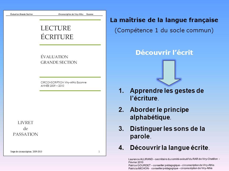 La maîtrise de la langue française (Compétence 1 du socle commun) Découvrir lécrit 1.Apprendre les gestes de lécriture. 2.Aborder le principe alphabét