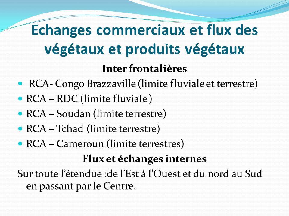 Echanges commerciaux et flux des végétaux et produits végétaux Inter frontalières RCA- Congo Brazzaville (limite fluviale et terrestre) RCA – RDC (limite fluviale ) RCA – Soudan (limite terrestre) RCA – Tchad (limite terrestre) RCA – Cameroun (limite terrestres) Flux et échanges internes Sur toute létendue :de lEst à lOuest et du nord au Sud en passant par le Centre.