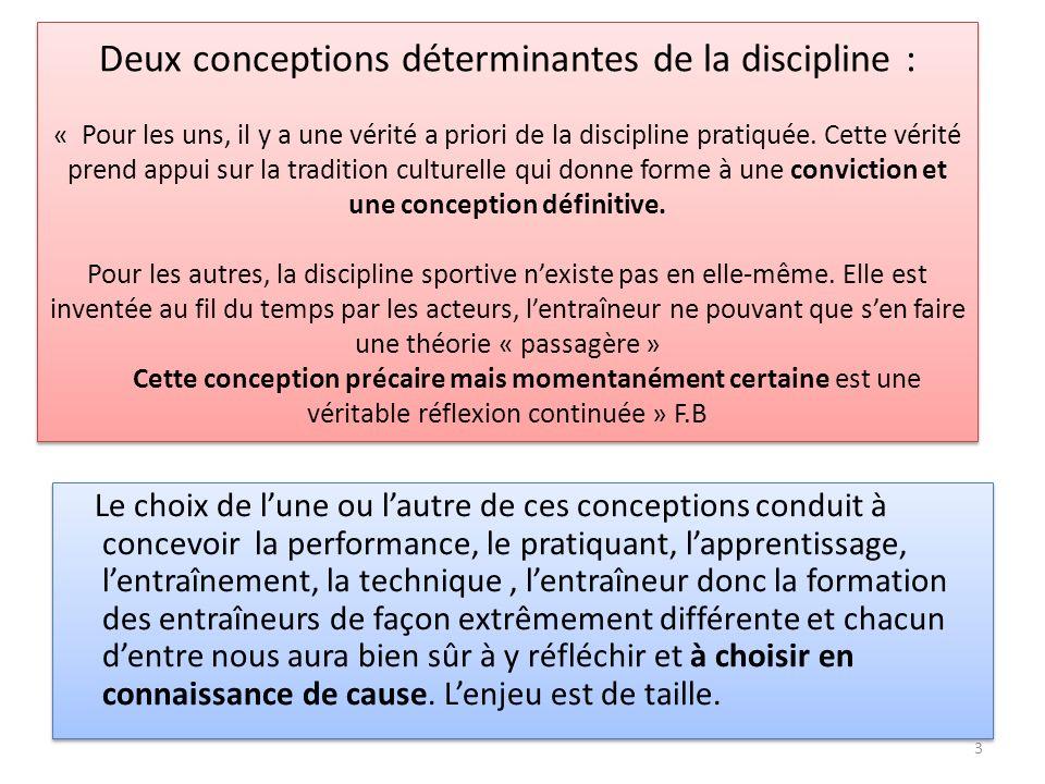Deux conceptions déterminantes de la discipline : « Pour les uns, il y a une vérité a priori de la discipline pratiquée. Cette vérité prend appui sur