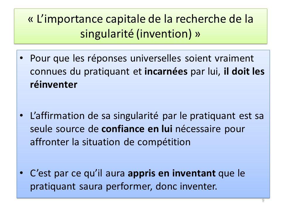 « Limportance capitale de la recherche de la singularité (invention) » Pour que les réponses universelles soient vraiment connues du pratiquant et inc