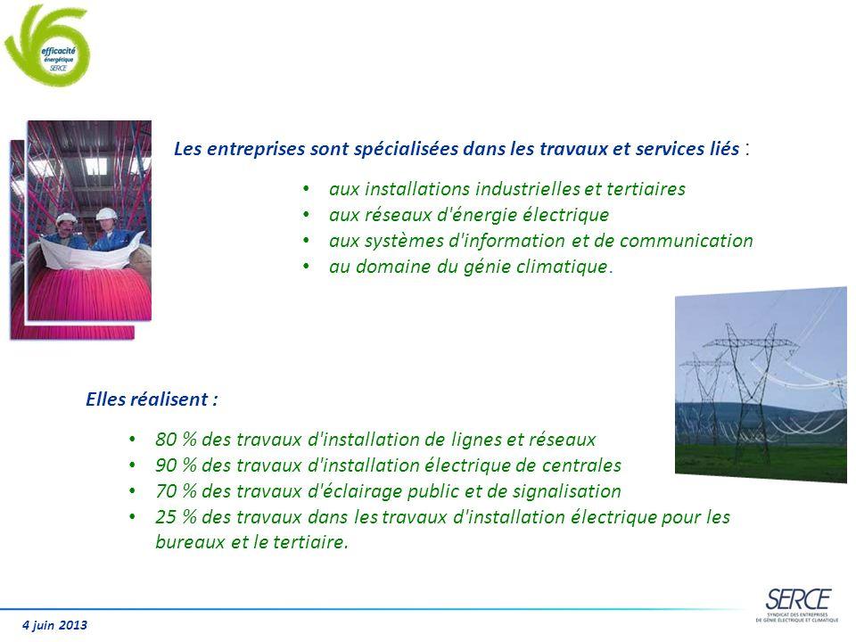 Les entreprises sont spécialisées dans les travaux et services liés : aux installations industrielles et tertiaires aux réseaux d'énergie électrique a