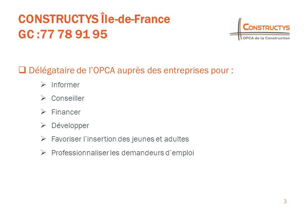 CONSTRUCTYS Île-de-France GC :77 78 91 95 3 Délégataire de lOPCA auprès des entreprises pour : Informer Conseiller Financer Développer Favoriser linsertion des jeunes et adultes Professionnaliser les demandeurs demploi