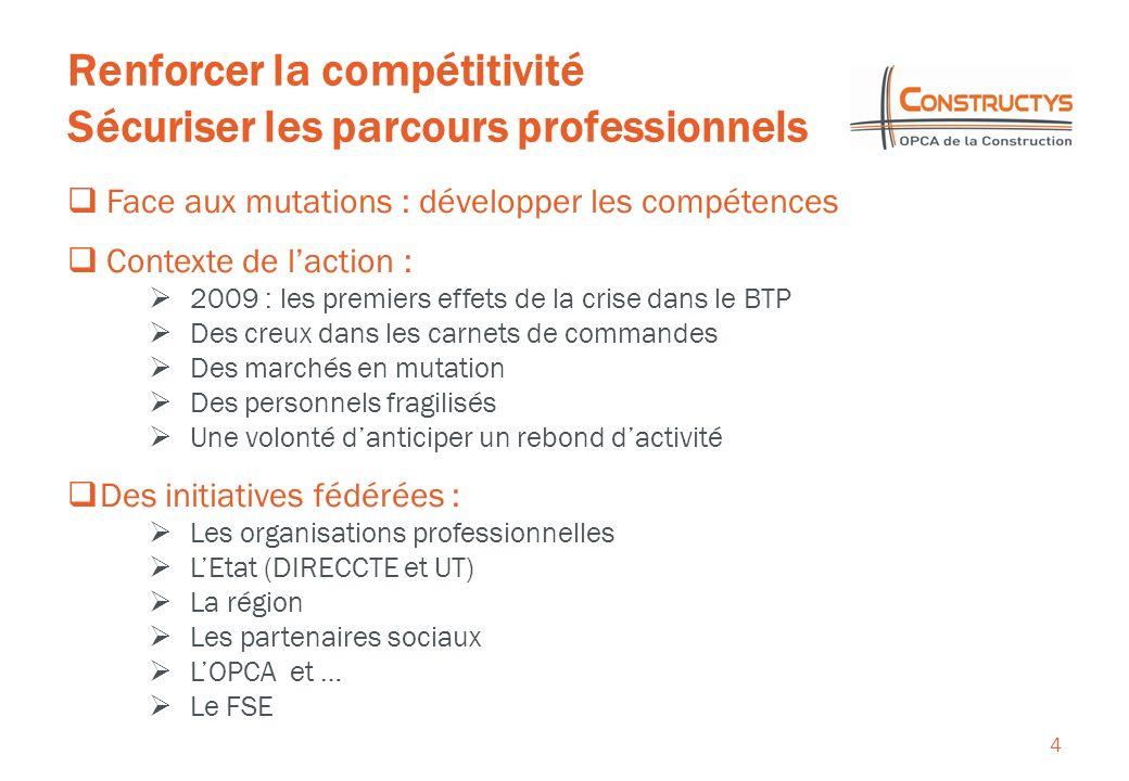Renforcer la compétitivité Sécuriser les parcours professionnels 4 Face aux mutations : développer les compétences Contexte de laction : 2009 : les pr
