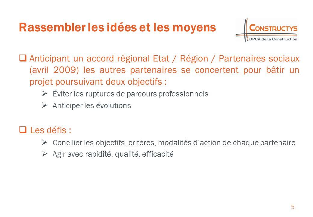 Rassembler les idées et les moyens 5 Anticipant un accord régional Etat / Région / Partenaires sociaux (avril 2009) les autres partenaires se concerte