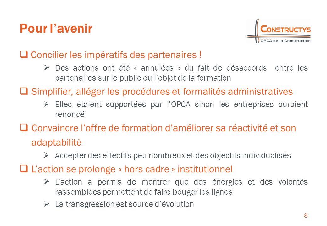 Pour lavenir 8 Concilier les impératifs des partenaires ! Des actions ont été « annulées » du fait de désaccords entre les partenaires sur le public o