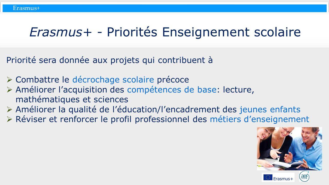 Erasmus+ Erasmus+ - Priorités Enseignement scolaire Priorité sera donnée aux projets qui contribuent à Combattre le décrochage scolaire précoce Amélio