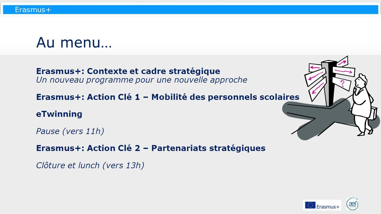 Erasmus+ Au menu… Erasmus+: Contexte et cadre stratégique Un nouveau programme pour une nouvelle approche Erasmus+: Action Clé 1 – Mobilité des person